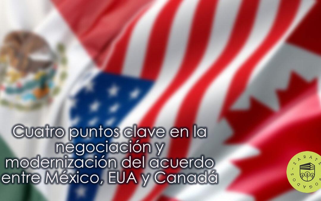 Cuatro puntos clave en la negociación y modernización del acuerdo entre México, EUA y Canadá